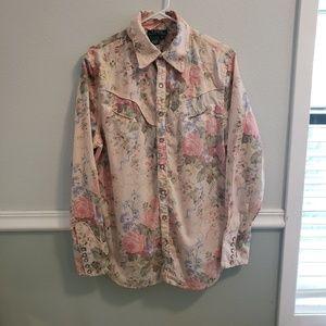 Vintage Ralph Lauren Floral Button down soft pink
